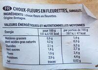 Choux-fleurs en fleurettes - Valori nutrizionali - fr