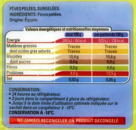 Fèves pelées Surgelées - Nutrition facts - fr