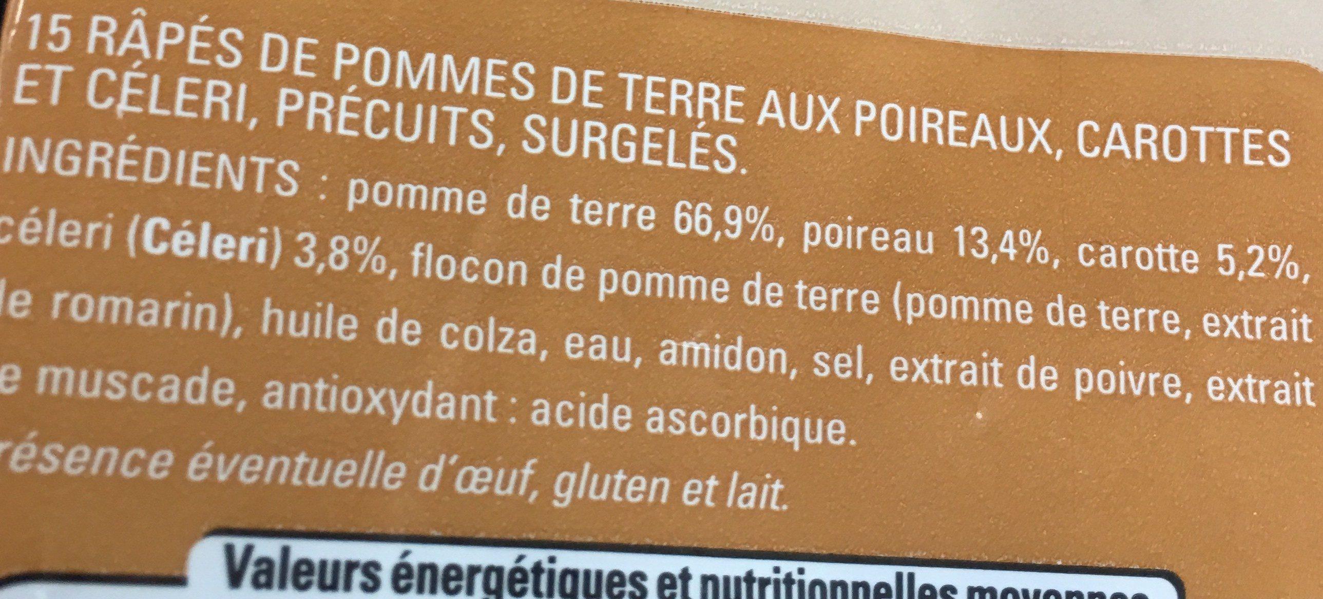 Râpes de pomme de terre au légumes - Ingrédients - fr