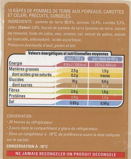 Râpes de pomme de terre au légumes - Informations nutritionnelles - fr