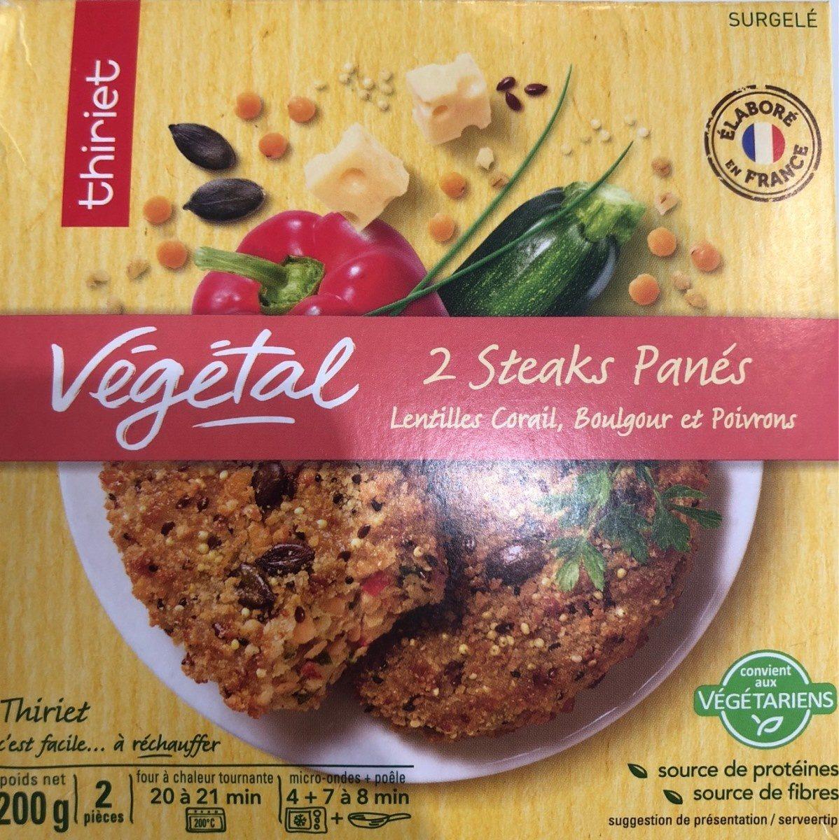 Végétal, 2 steaks panés, lentilles corail, Boulgour et Poivrons - Product - fr