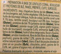 Végétal, 2 steaks panés, lentilles corail, Boulgour et Poivrons - Ingredients - fr