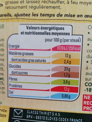 Végétal, 2 steaks panés, lentilles corail, Boulgour et Poivrons - Nutrition facts - fr