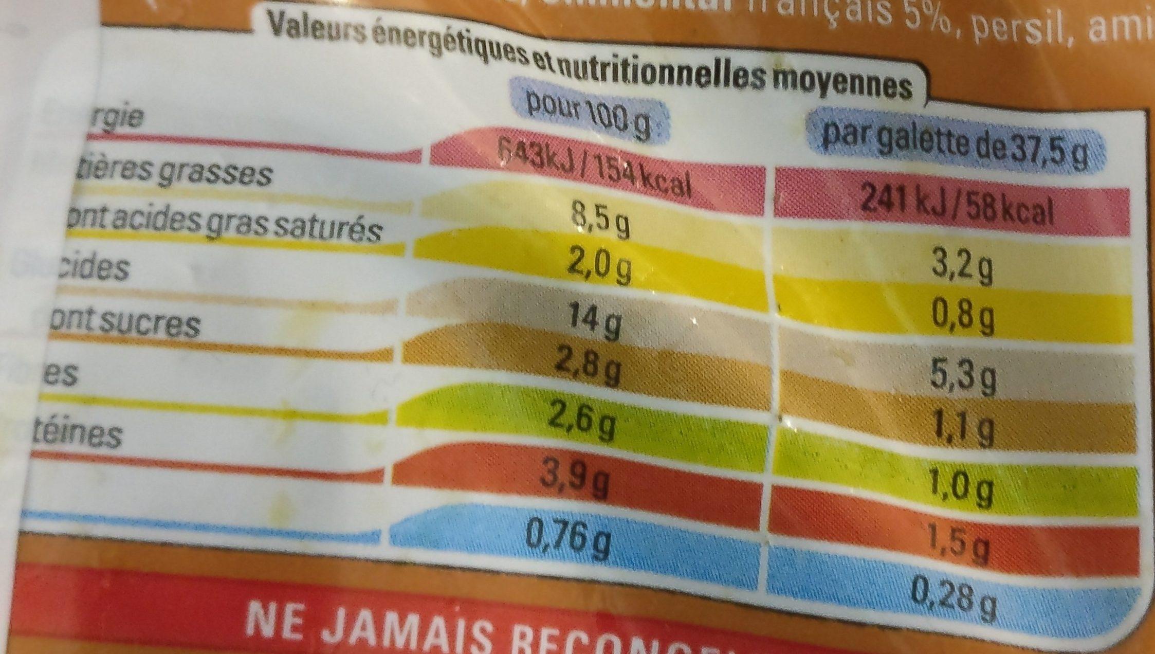 Gallette de légume - Informations nutritionnelles