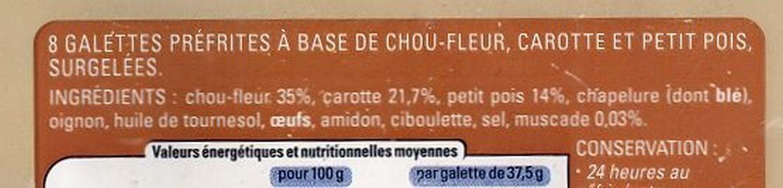 Galettes chou fleur, carotte, petit pois - Ingrédients - fr
