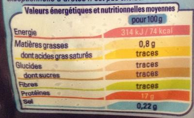 Médaillon de limande-sole - Informations nutritionnelles