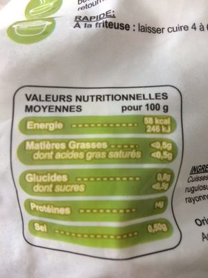 cuisses de grenouille - Informations nutritionnelles - fr