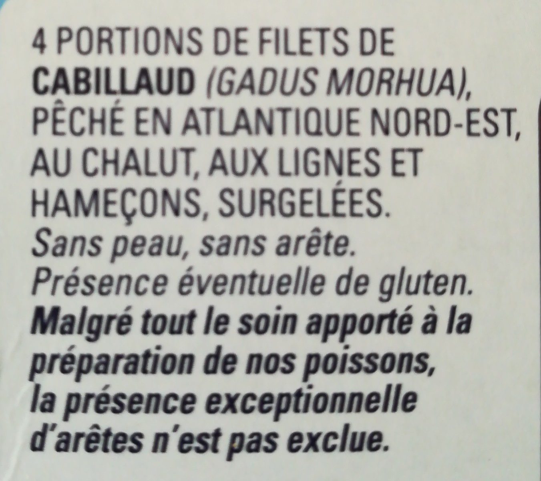 4 portions de Filet de cabillaud - Ingrediënten - fr