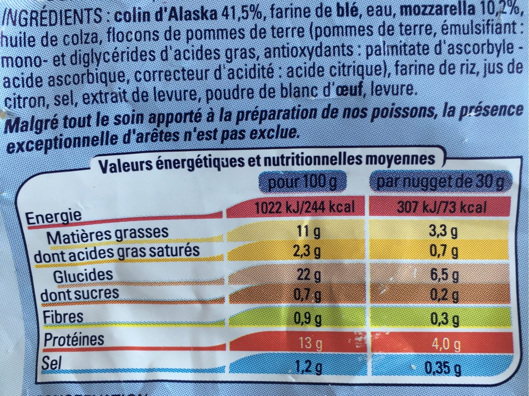 Nuggets de colin d'Alaska et Mozzarella - Nutrition facts - fr