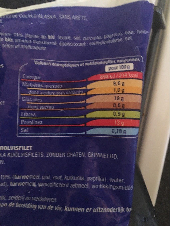 Mes panes au colin dalaska - Valori nutrizionali - fr