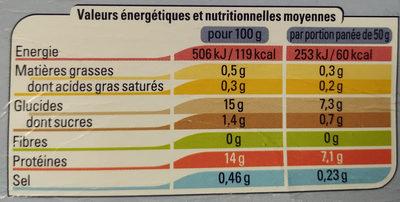 Filet de Cabillaud Pané - Nutrition facts - fr