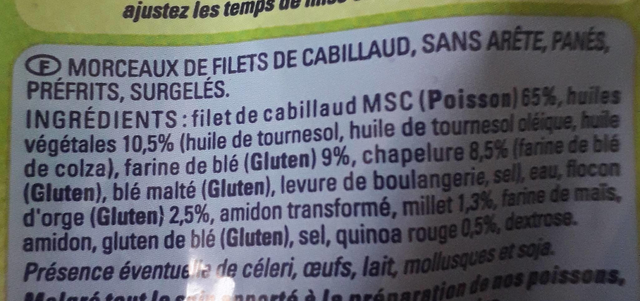 Morceaux de cabillaud panés aux céréales croustillantes - Ingredients - fr