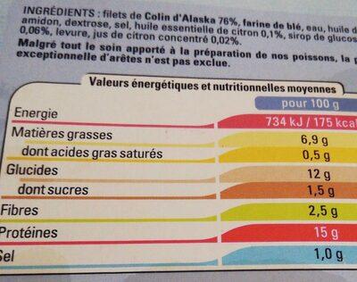 Filets de colin meunière - Voedingswaarden - fr