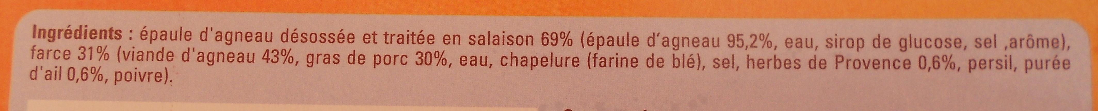 Rôti d'agneau farci, Surgelé - Ingrediënten