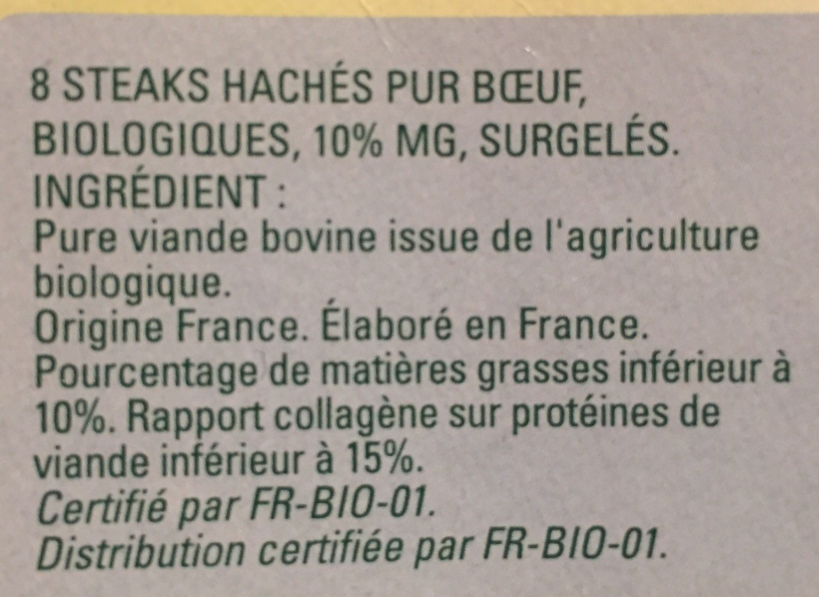 Steak Haché 10% - Ingrédients - fr