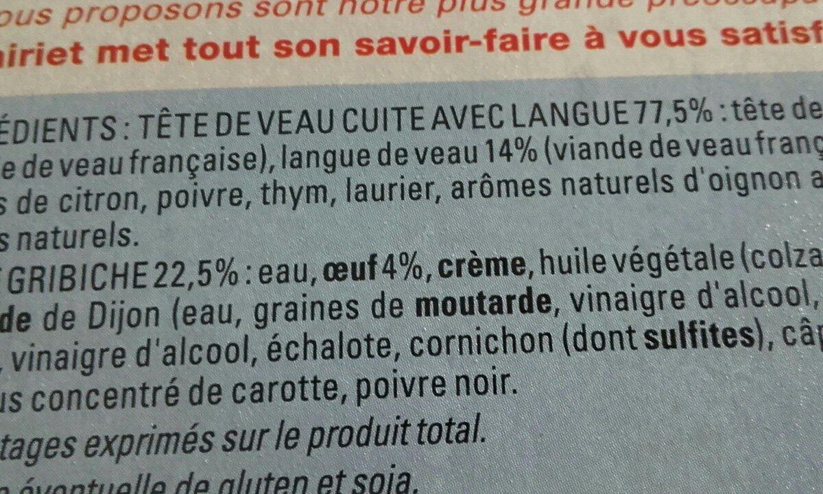 Tête de veau - Ingredients - fr