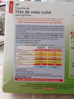 Tête de veau - Nutrition facts - fr