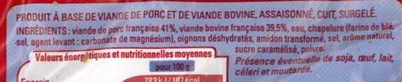 Boulettes suédoises - Ingrédients - fr