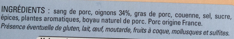 Boudin noir aux oignons - Ingrédients - fr