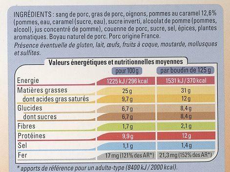 2 Boudins Noirs traditionnels aux pommes - Ingrédients - fr