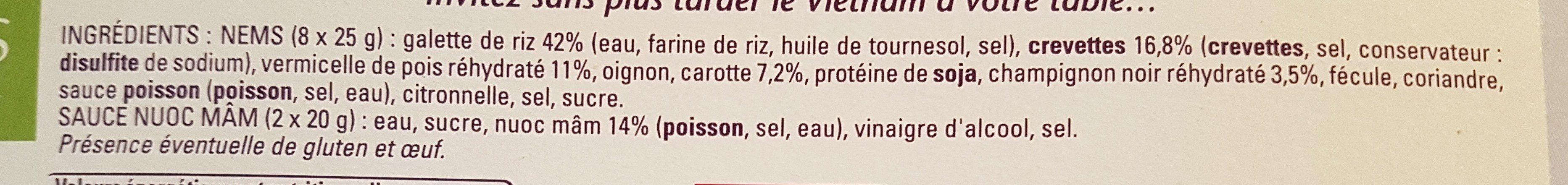 Nems crevettes - Ingrediënten