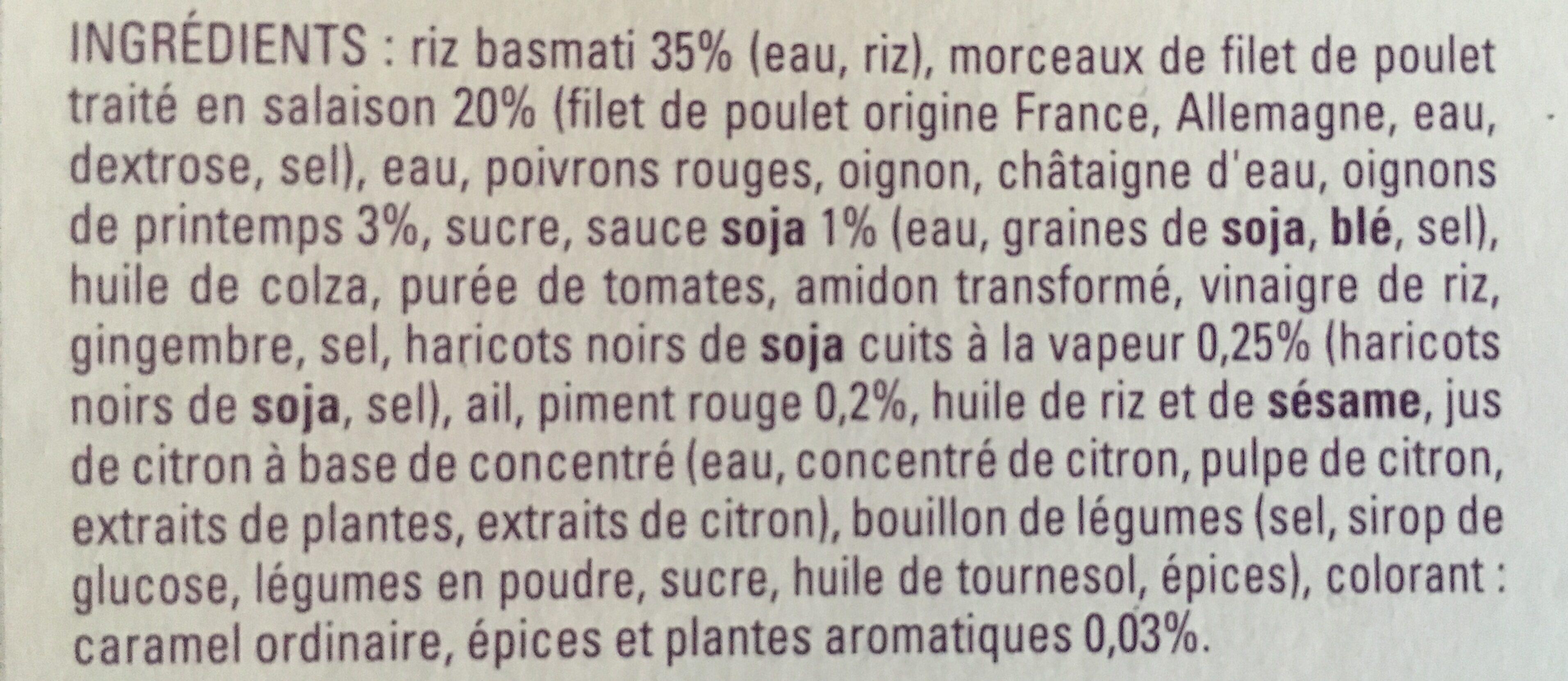 Poulet hoisin et riz basmati - Ingrédients