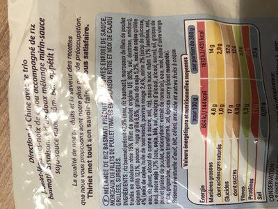 Poulet Aux Noix De Cajou Et Riz Basmati - Ingrédients