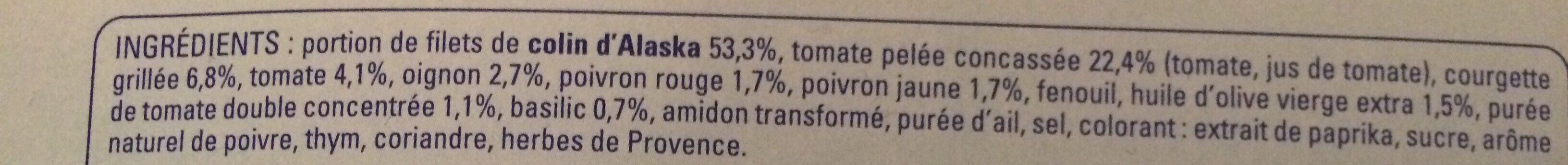 Colin d'Alaska Sauce provencale - Ingrédients - fr