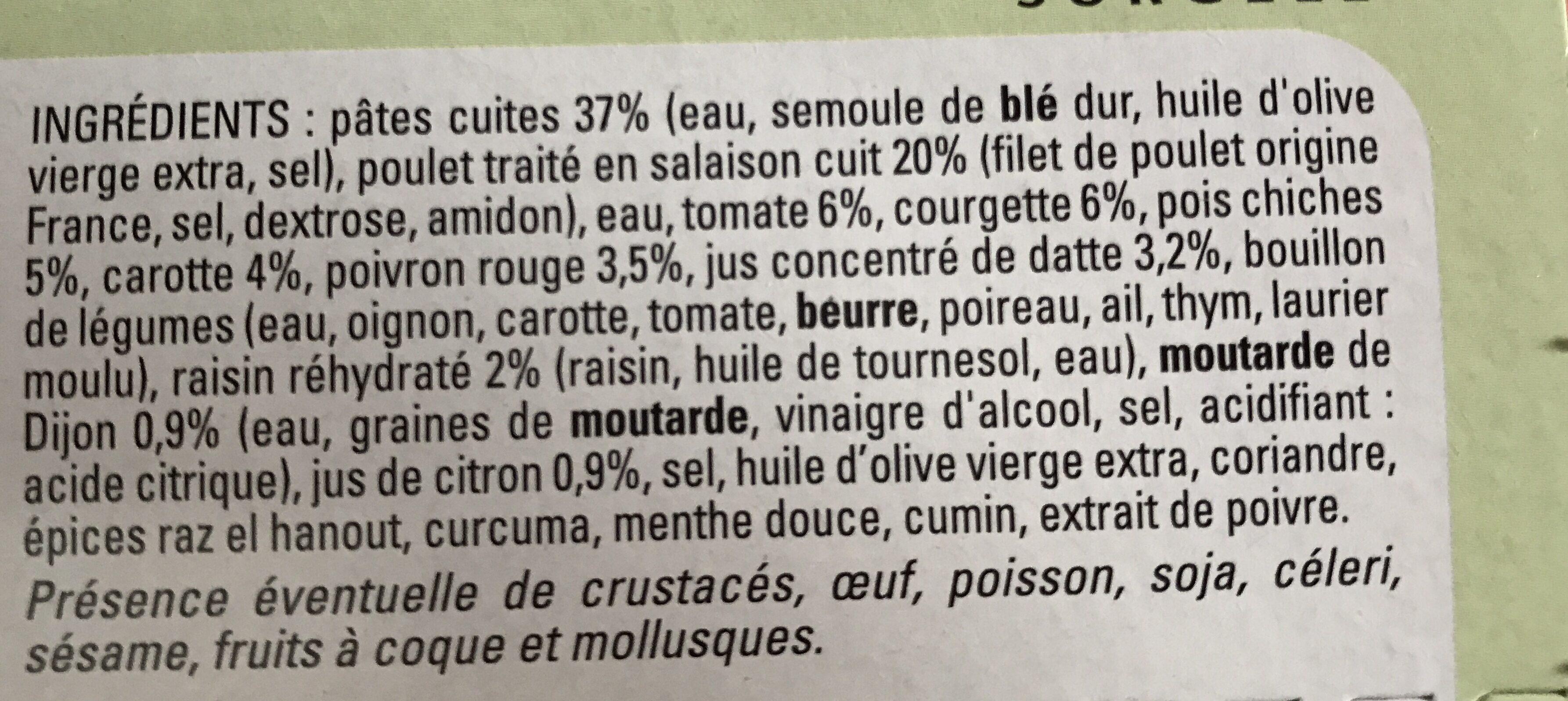 Pâtes legumes et poulet à l'orientale - Ingrédients - fr