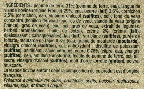 Langue de bœuf sauce piquante & purée de pommes de terre - Ingrédients - fr