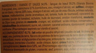 Langue de boeuf, sauce piquante et purée de pomme de terre - Ingrédients