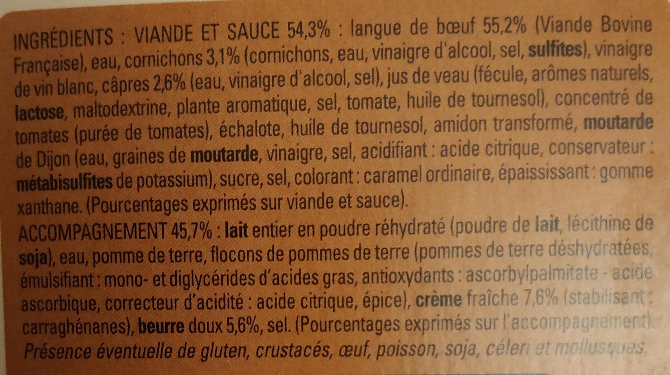 Langue de boeuf, sauce piquante et purée de pomme de terre - Ingrediënten - fr
