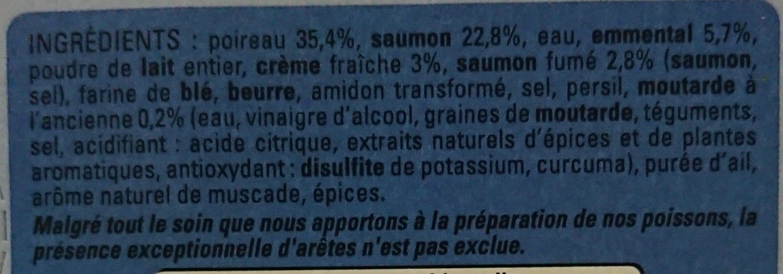 Gratin de poireaux au saumon - Ingrédients