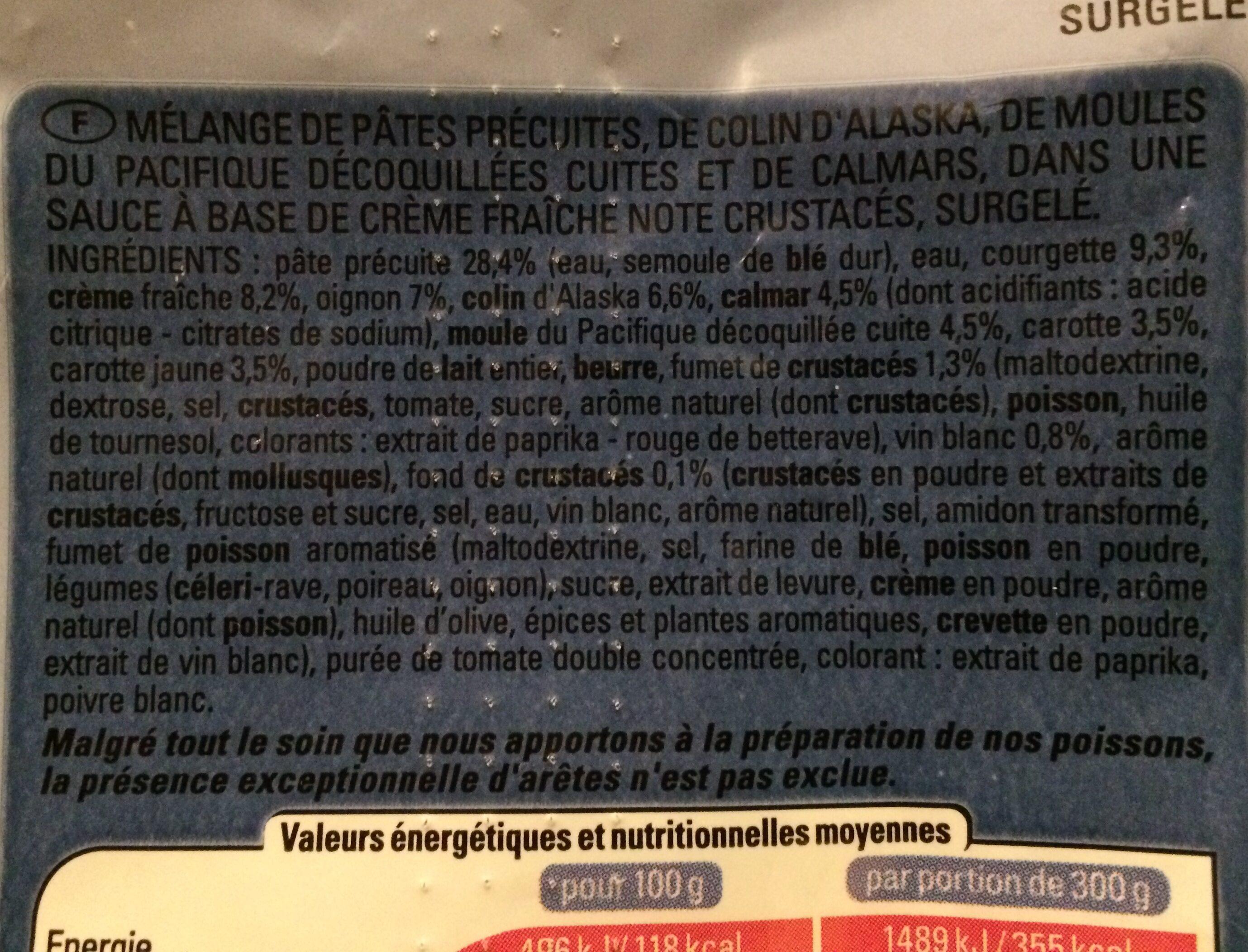 Pâtes au colin d'alaska et fruits de mer sauce crustacés - Ingrédients - fr