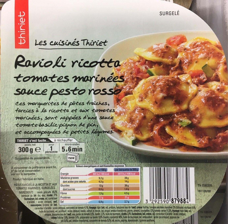 Ravioli ricotta tomates marinées sauce pesto rosso - Produit