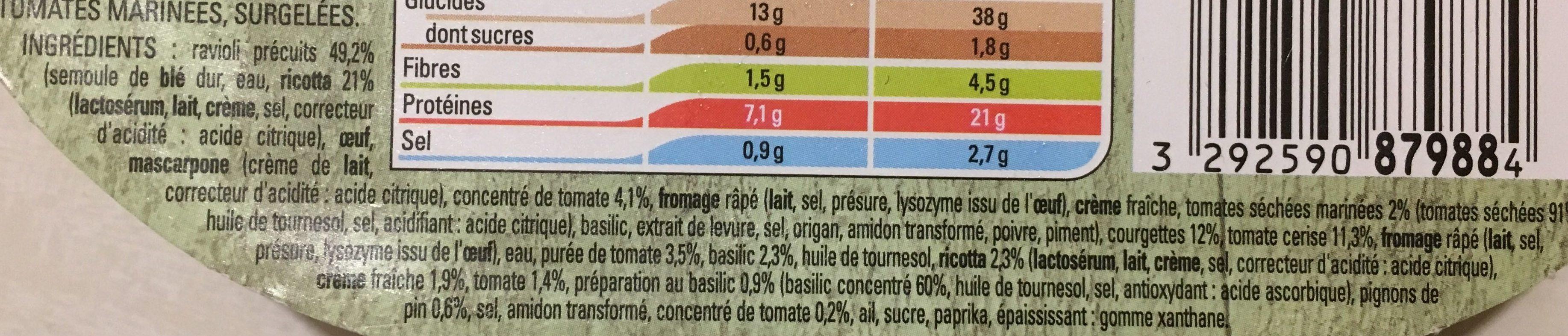 Ravioli ricotta tomates marinées sauce pesto rosso - Ingrédients