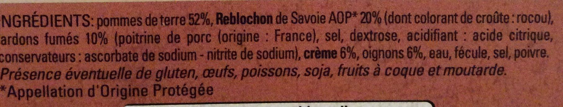 Tartiflette au Reblochon de Savoie - Ingrediënten