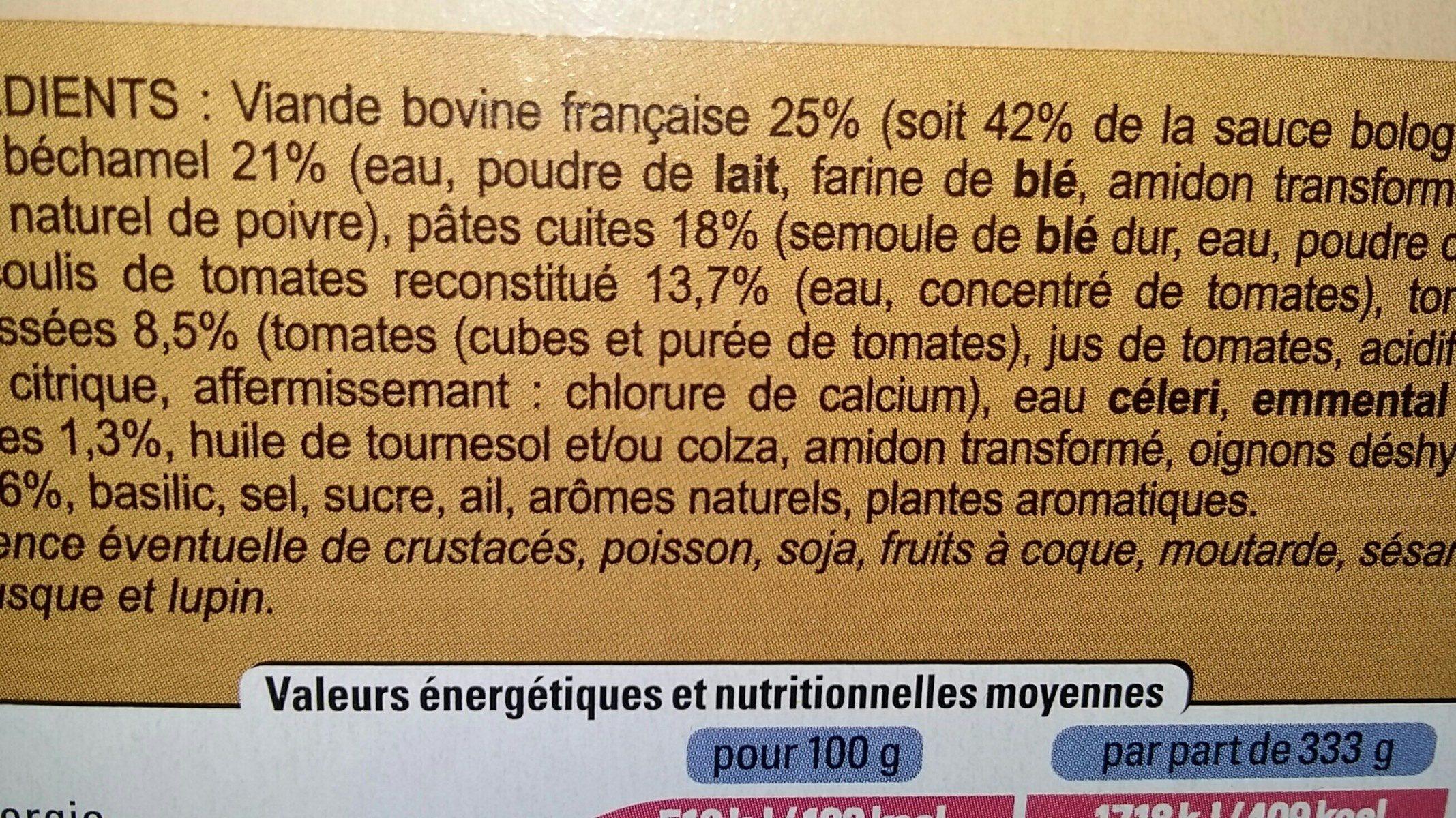 Lasagnes à la bolognaise - Ingredients