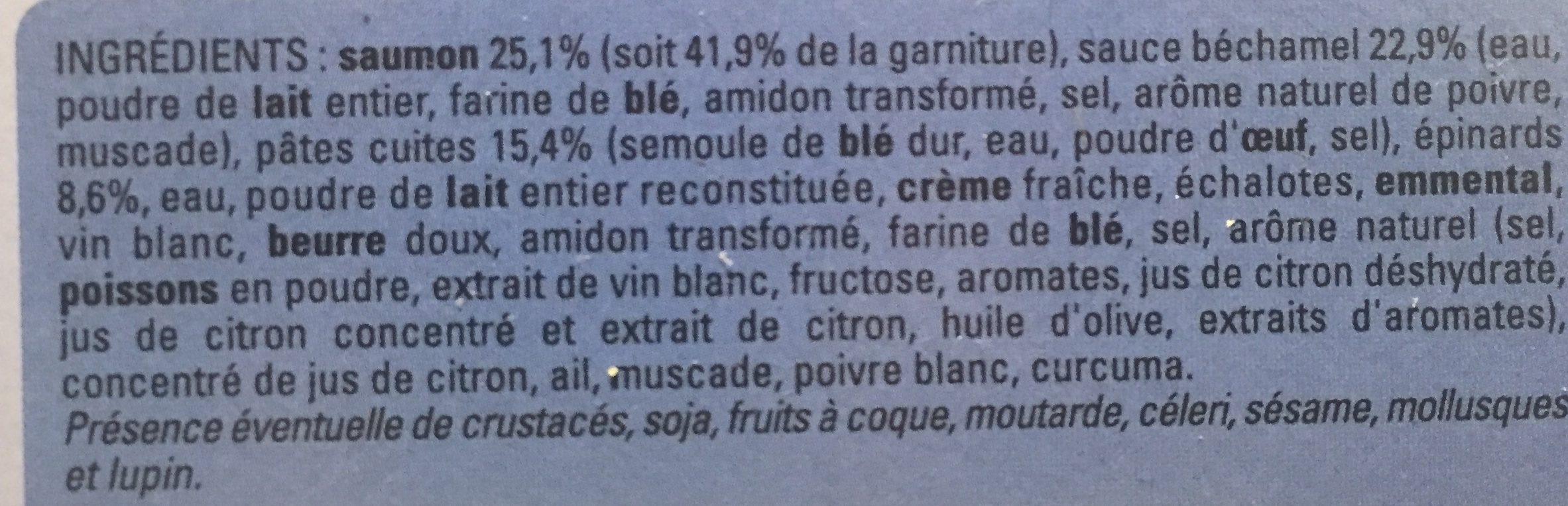 Lasagnes saumon epinards - Ingrediënten - fr