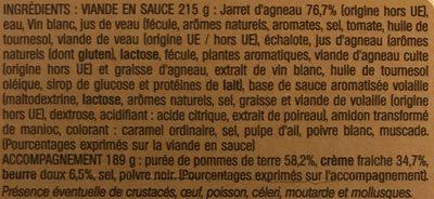 Jarret d'agneau - Ingredients