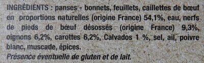 Tripes traditionnelles à la mode de Caen - Ingredients - fr