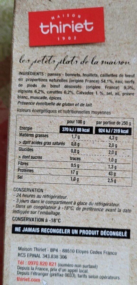 Tripes traditionnelles à la mode de Caen - Nutrition facts - fr
