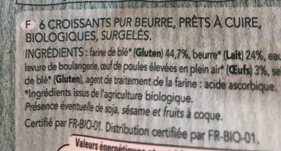 Croissants bio pur beurre - Ingrédients - fr