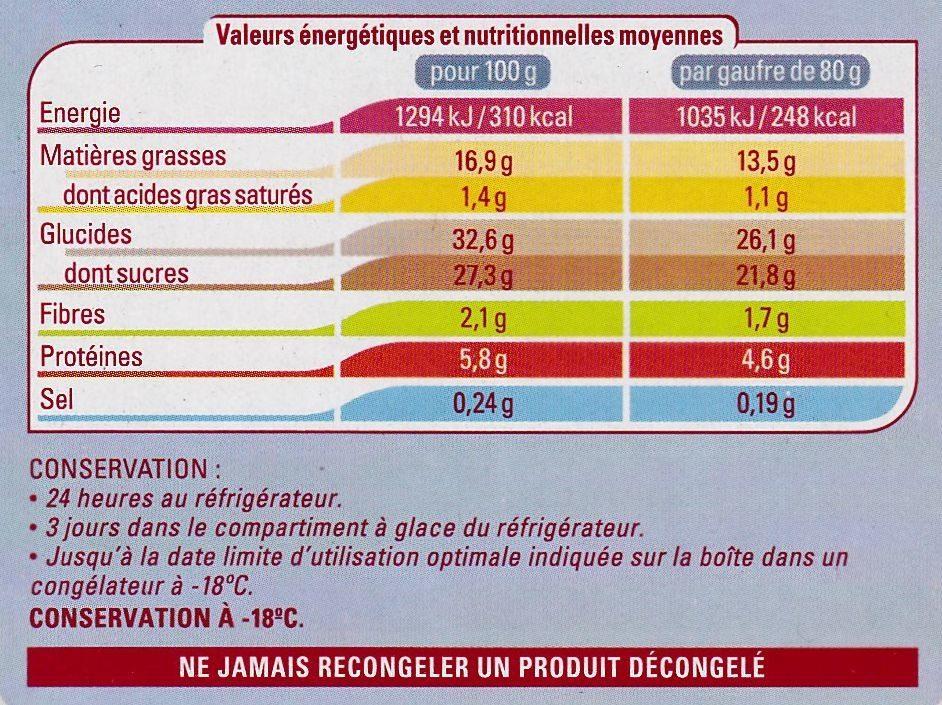 4 Gaufres de Bruxelles congelées - Nutrition facts