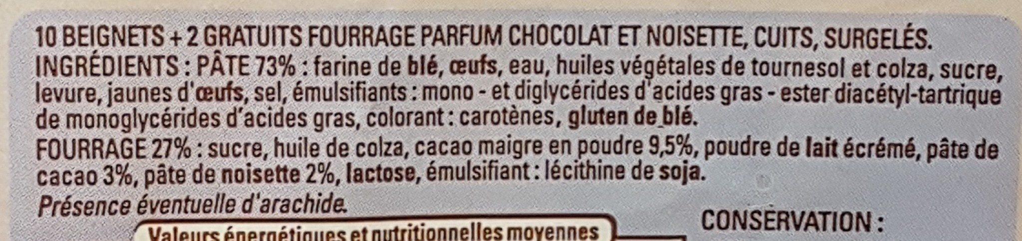 Beignets fourrés chocolat noisette - Ingrédients