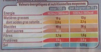 Beignets fourrés chocolat noisette - Informations nutritionnelles
