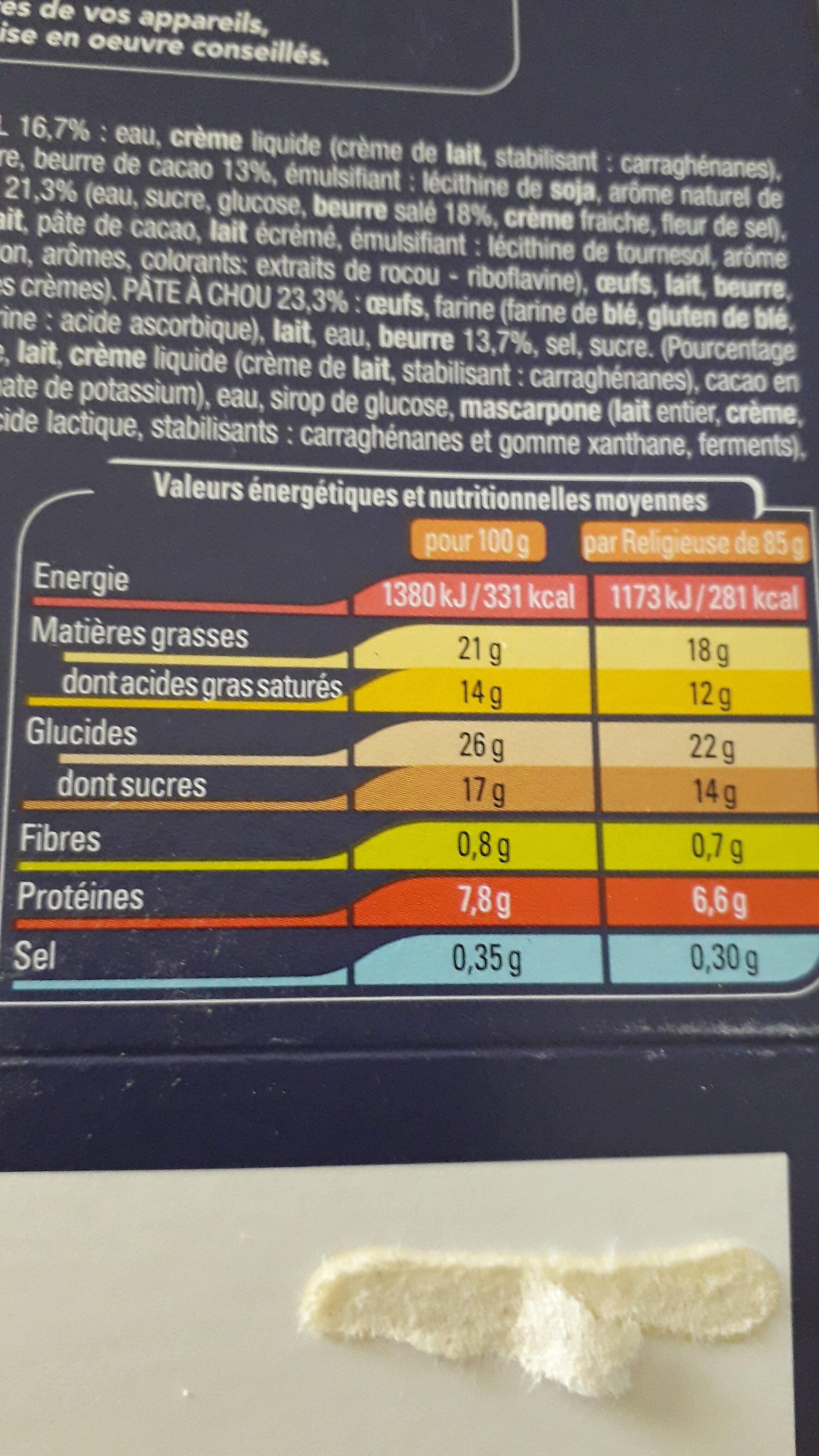 2 Religieuses chocolat caramel - Nutrition facts - fr