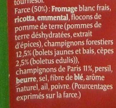 Ravioles forestières aux cèpes - Ingrédients - fr