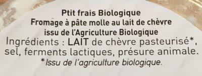 Le petit frais de chèvre bio - Ingrédients - fr