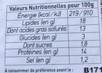 Le petit frais de chèvre bio - Informations nutritionnelles - fr